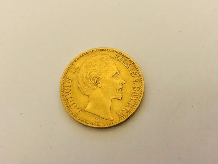 Germany, Bavaria - 20 Mark 1873 D 'Ludwig II' - gold
