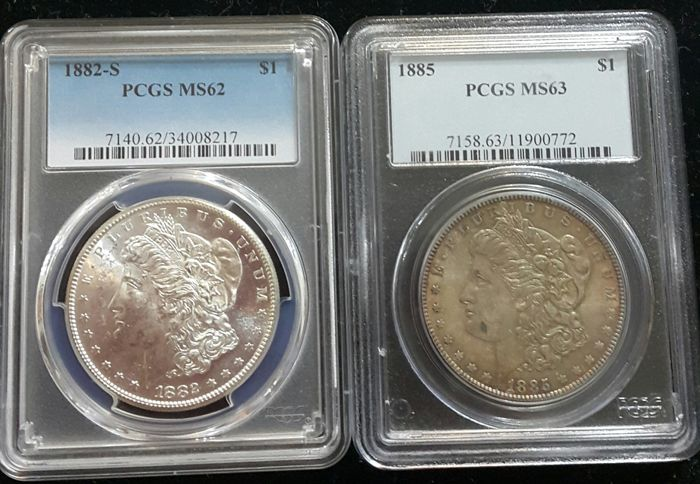 United States - Dollars (Morgan) 1882-S + 1885 in PCGS Slabs - silver