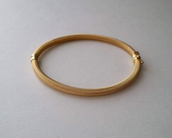 1AR UNO A ERRE Italy 14kt Gold Mesh Bangle Bracelet