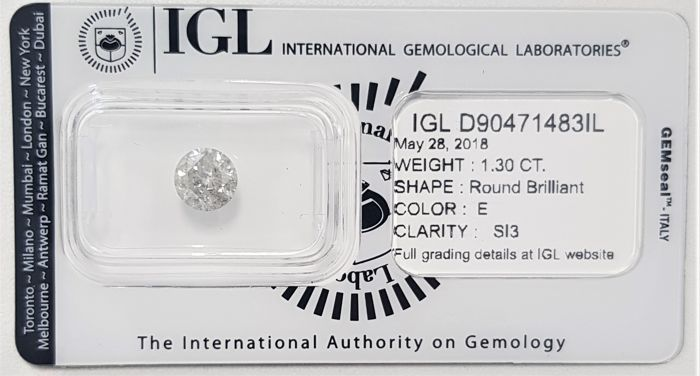 1.30 ct - Natural White Diamond - E Color - SI3 - VG/VG/VG - NO RESERVE!