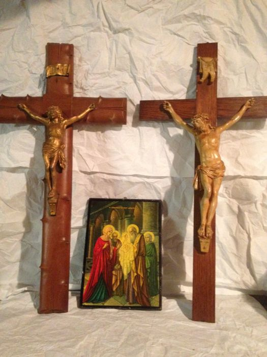 Two large wooden crosses 60 cm, and  Russian icon 19 x 26 cm