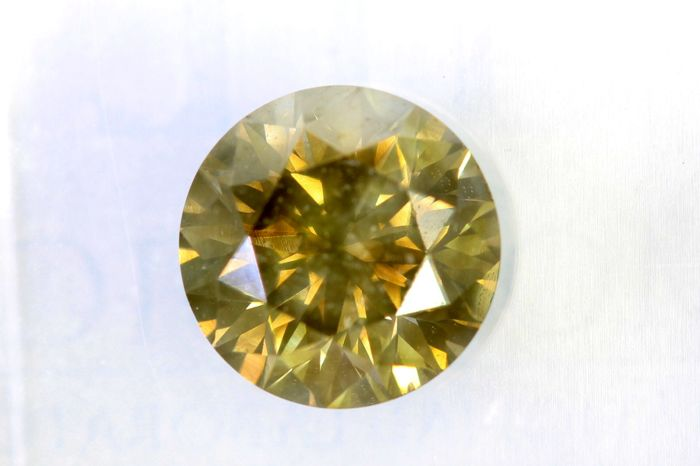 * NO RESERVE PRICE * -  Fancy VIVID Greenish Yellow -  1.20 ct - SI2