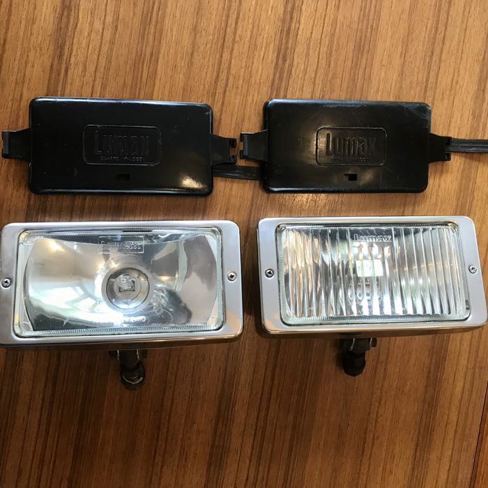 Set Original Lumax Stainless Steel Fog and Spotlights with original covers, in very good condition England Ca. 1970