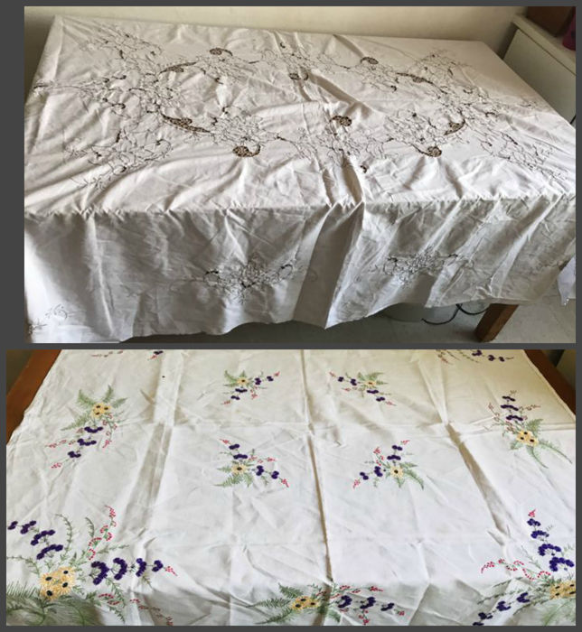 2 very old pure cotton tablecloths, embroidered and cut with floral patterns, all handmade