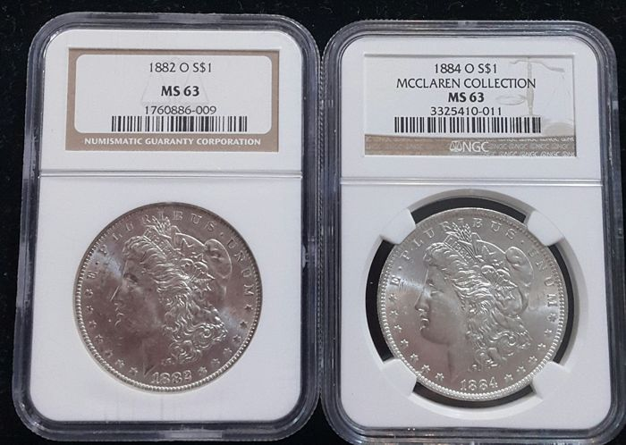 United States - Dollars (Morgan) 1882-O + 1884-O in NGC Slabs - silver