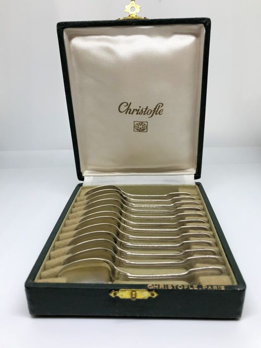 Christofle, 12 teaspoons in box (silver plated metal)