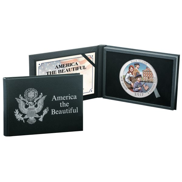 United States - US Mint - America the Beautiful - Ellis Island New Jersey - Colour Edition - 5 oz 999 Silver Coin