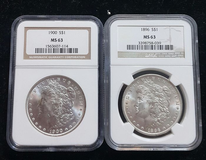 United States - Dollar (Morgan) 1896 + 1900 in NGC Slabs - silver