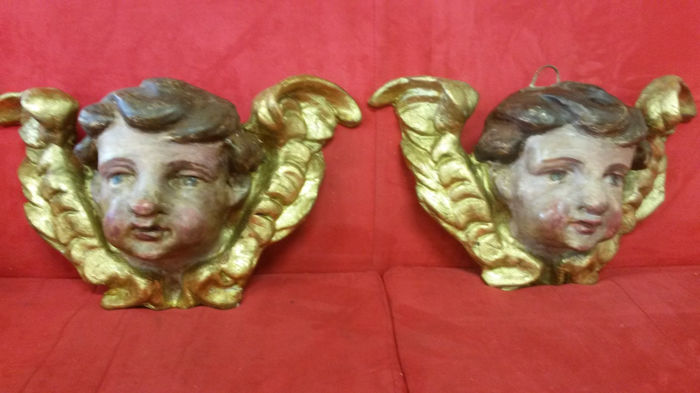 2 putti heads - papier-mâché and plaster - 19th century - Italy