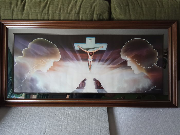 Beautiful painting of Christ of Dalí on mirror
