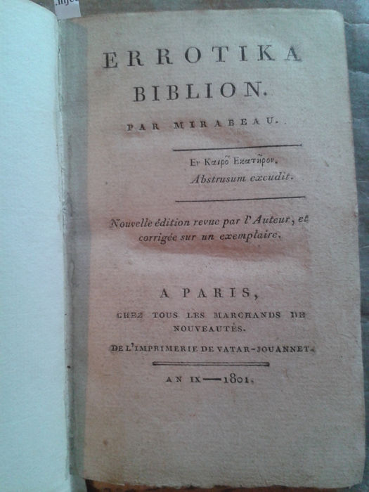 Mirabeau Errotika Biblion 1801 Catawiki