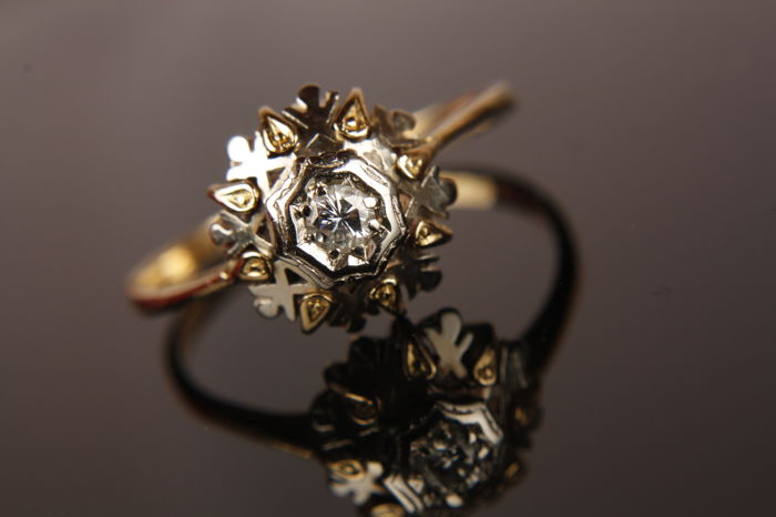 Dames ring met Diamant - Bicolor - 14k goud - Ringmaat: 19,00 mm