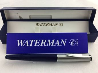 Waterman Reflex fountain pen dark blue with steel Cap. Fine pen nib