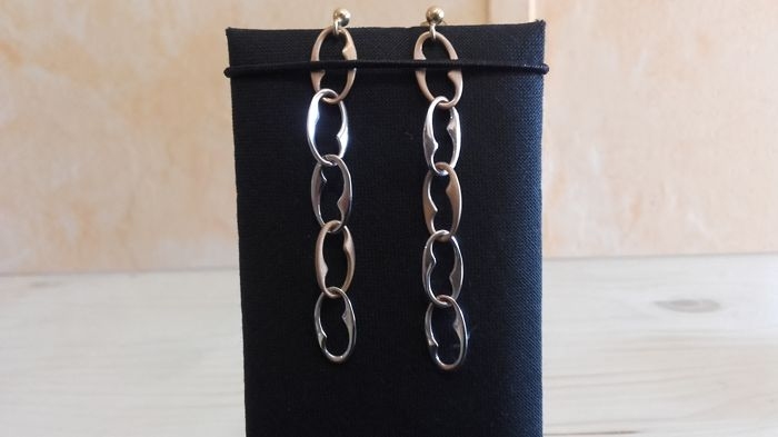 Two-tone 18 kt gold chain earrings - 6 cm