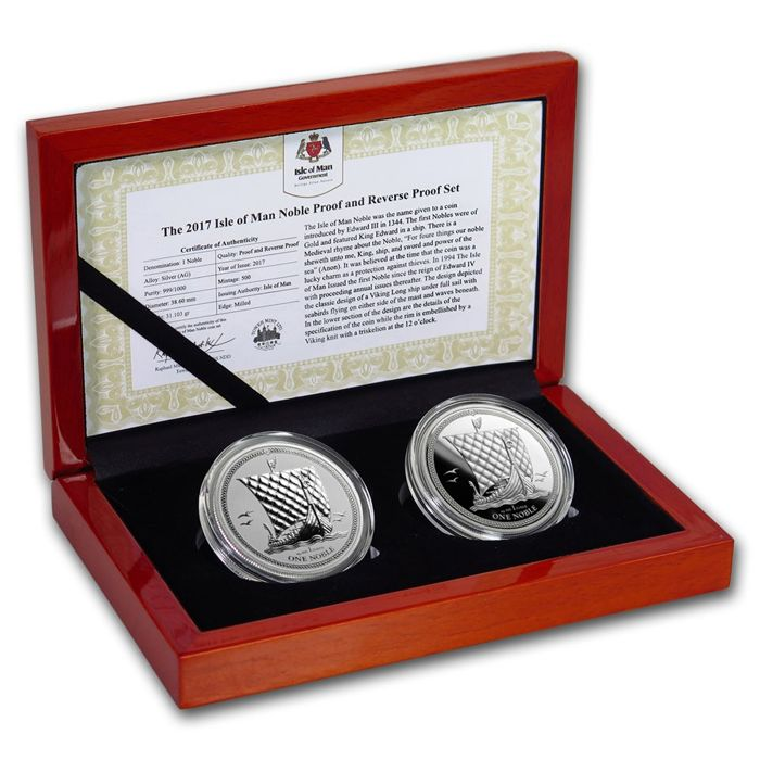 2 x 1 Angel - Isle of man - One Noble Silver Proof Set - Viking Ship - 2 x 1 oz 999 Silver with Certificate and Box - Edition of only 500 Pieces