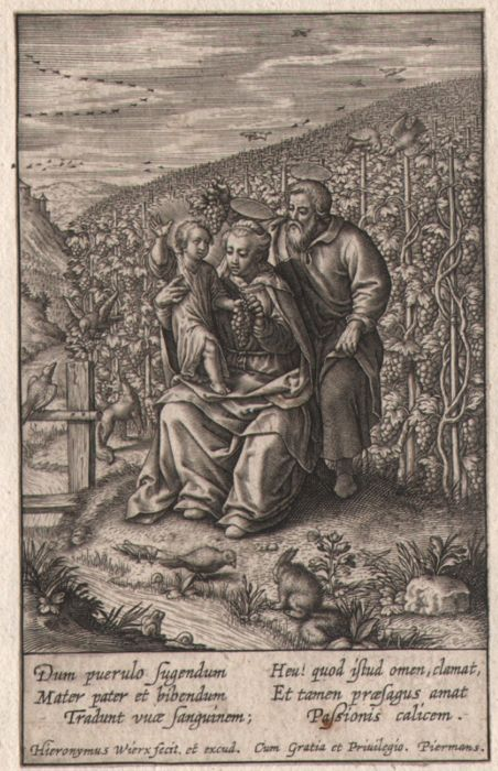 Hieronymus Wierix (1553 - 1619) - The Holy family in the vineyard