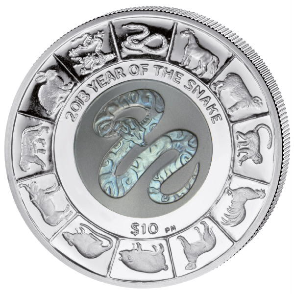 British Virgin Islands - 10 Dollars 2013 'Year of the Snake' with greenish brown titanium core - silver