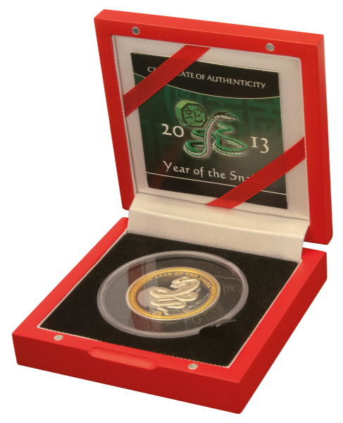 $5 - Palau - Year of the Snake, 2013 - High Relief Polished Plate - 1 oz 999 Silver - with Red Crystal - Certificate & Box