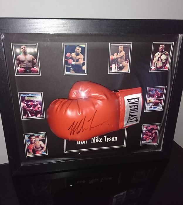 Allstars Iron Mike Tyson hand signed bubble framed Boxing glove with photo inclusive Coa