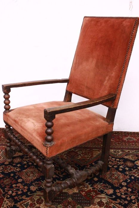 Walnut and velvet armchair, France - 18th century