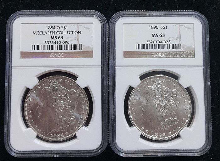 United States - Dollars (Morgan) 1884-O + 1896 in NGC Slabs - silver