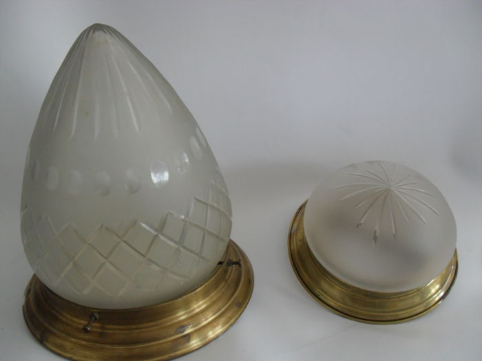 Ceiling lamp set with cut chalices, 1970, France