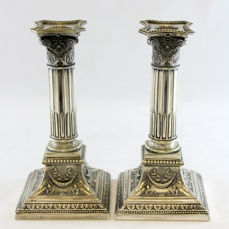 Pair of Antique silver plate candlesticks, by WMF (Württembergische Metallwarenfabrik), Germany Early 20th Century
