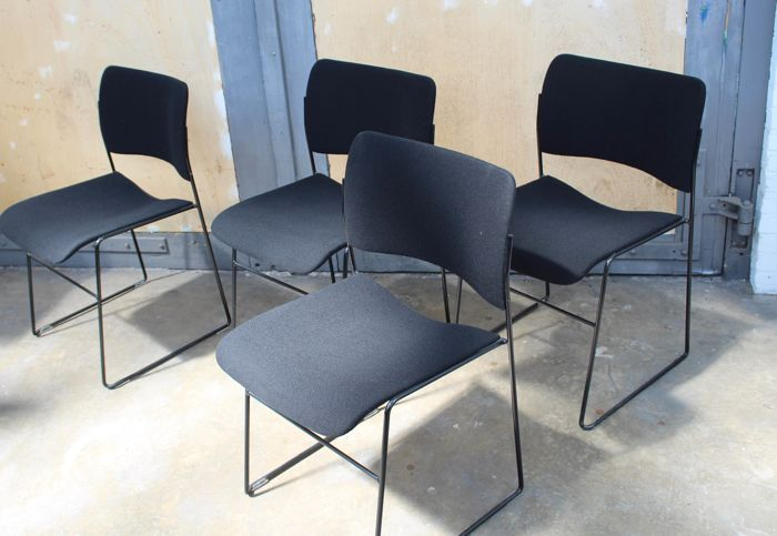 "David Rowland for Howe (issued by Seid International) - four stackable ""40/4"" chairs with upholstery."