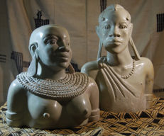 Wonderful sculpture on a soapstone: busts of a couple depicting a woman and a man of the Maasai population - Kenya