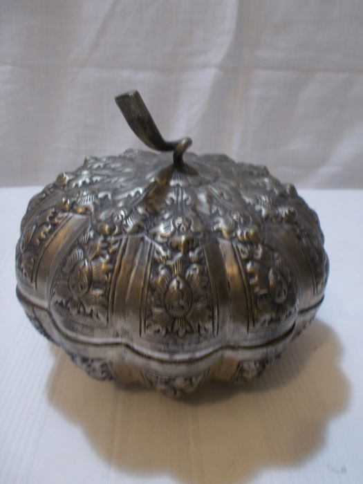 Pumpkin shaped silver candy box