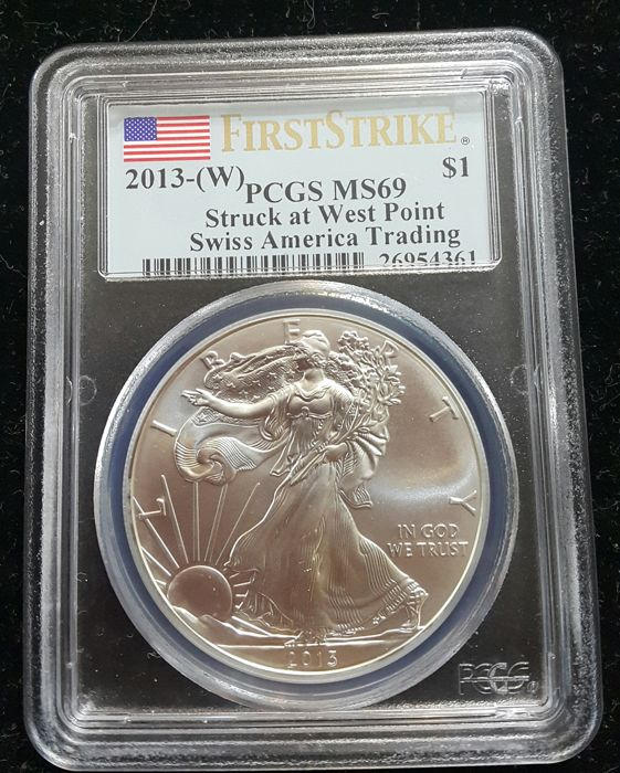 United States - Dollar 2013 'Eagle' in PCGS Slab - 1 oz silver