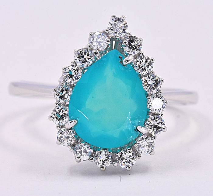 1.83 ct Blue Opal with Diamonds ring **NO RESERVE price!**