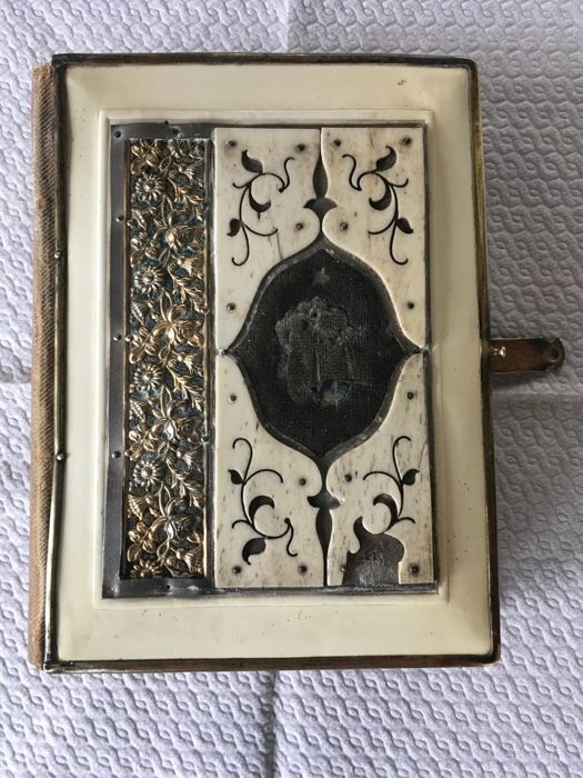 Antique Prayer Book- horn inlaid avorioline and brass - 1900