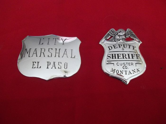 """Franklin Mint - Two Solid Sterling Silver """"The Great Western Lawmen"""" Badges - City Marshal El Paso and Deputy Sheriff Custer Co. Montana"""