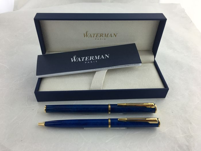 Waterman Apostrophe Marble Blue fountain pen and roller pen