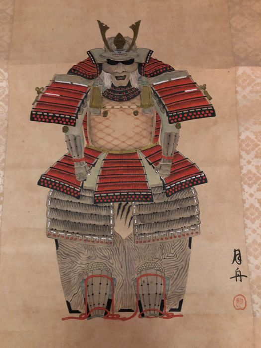 Scroll hand-painted on paper, Gesshū Yoroi Kabuto samurai  - Japan Circa 1920