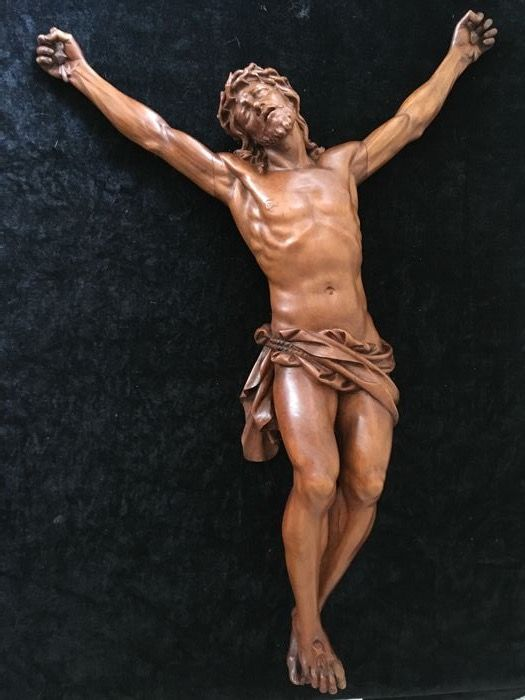 Large wooden crucifix - signed - the Netherlands - ca. 1900