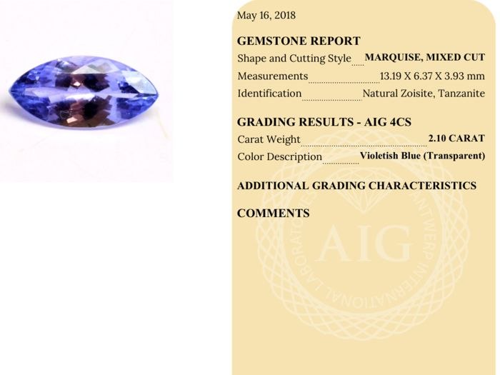 Violetish Blue Tanzanite - 2.10 Carat