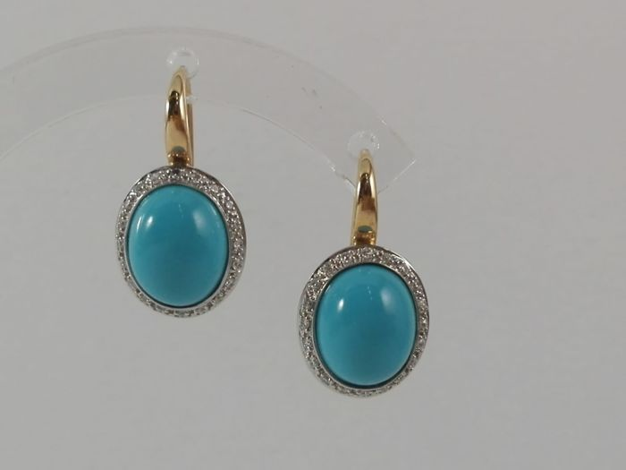 Mimì - Women's earrings in 18 kt white and yellow gold with natural diamonds totalling 0.20 ct  and natural turquoises  Weight: 5.5 g