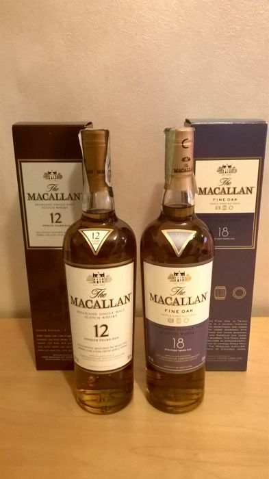 2 bottles - The Macallan 18 years old Fine Oak & The Macallan 12 years old Sherry Oak - with box