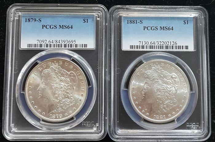 United States - Dollars (Morgan) 1879-S + 1881-S in PCGS Slabs - silver