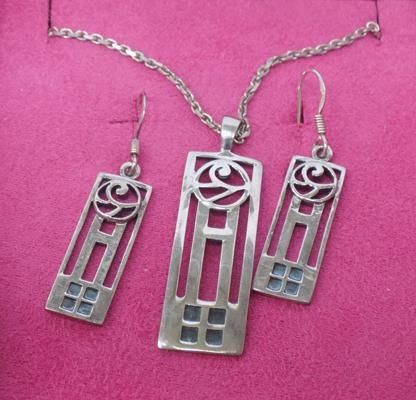 Silver 925 Pendant/Necklace & Earrings Set 20th century
