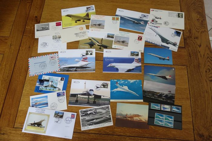 Concorde aeroplane, lot of philatelic documents (CPA and FDC) on the history of the mythical plane