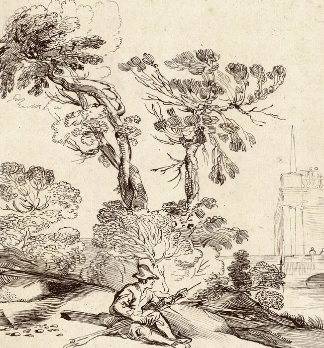 Charles Knapton , 1734-1736 after a drawing by Guercino - Fsherman in an Italian landscape - in brown ink