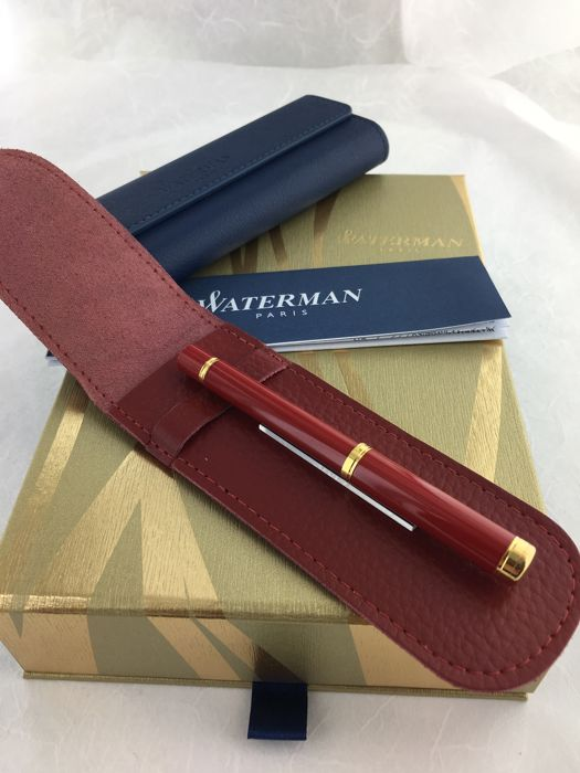 Waterman Lady ballpoint pen Lacquer Red GT, with red leather Waterman pouch.