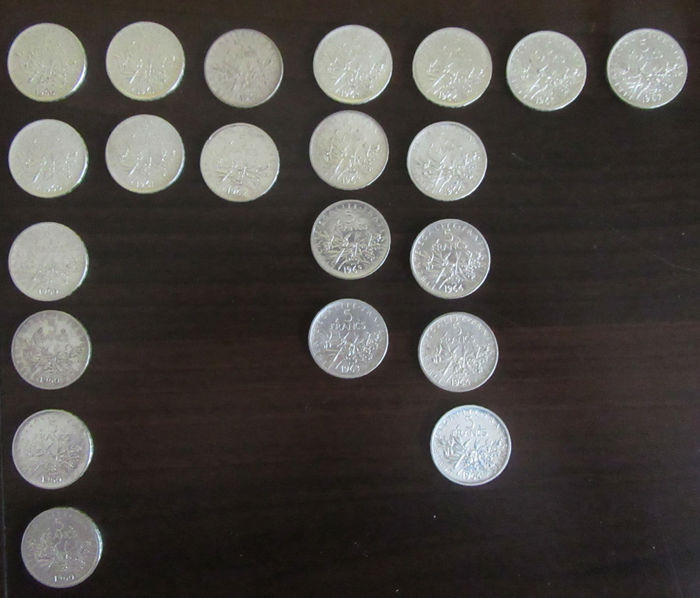 France - 5 Francs 1960/1967 Semeuse (lot of 21 coins) - silver