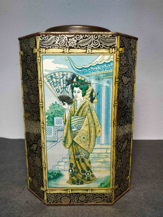 Rare antique big tin box with chinese figures made in Portugal