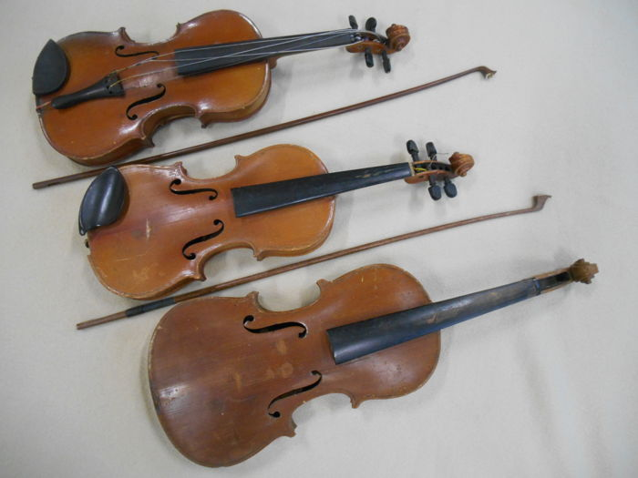 Three violins with bows for restoration/decoration 19th century Italy