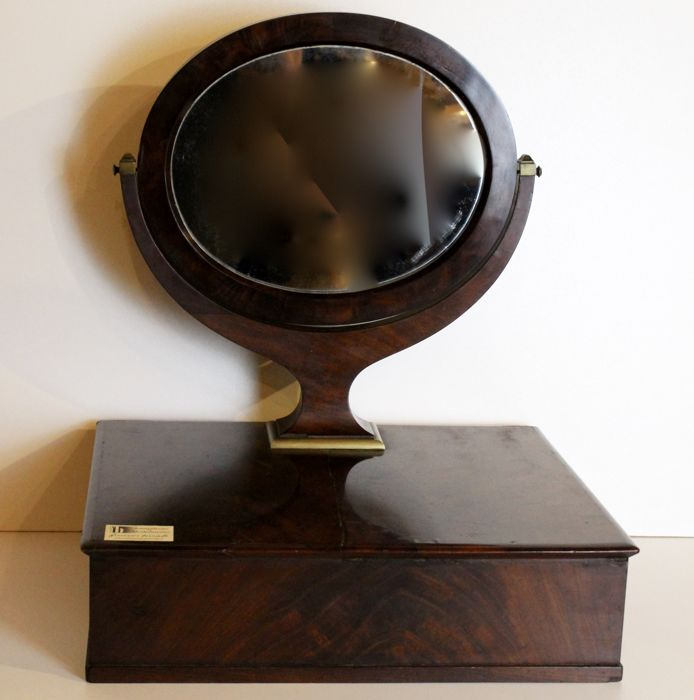 Psyché de table with side drawer, original mirror, paved with mahogany feather, France, Directory period, 19th century