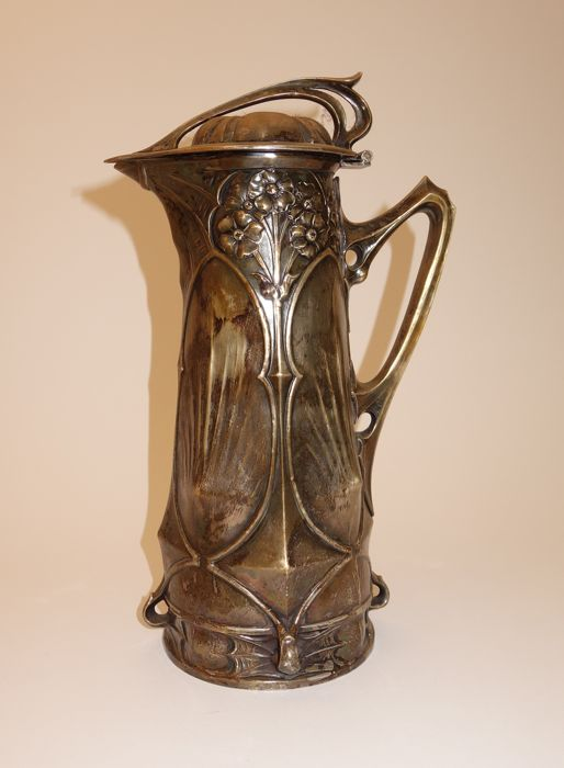Original Art Nouveau-Jugendstil silver-plated wine jug